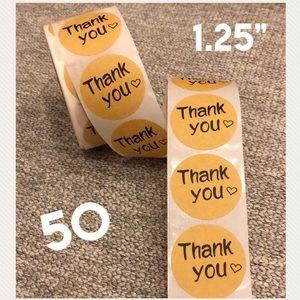 "50 Round Thank You Kraft stickers - 1.25"""
